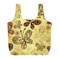 Butterfly Animals Fly Purple Gold Polkadot Flower Floral Star Sunflower Full Print Recycle Bags (l)  by Mariart