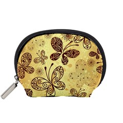 Butterfly Animals Fly Purple Gold Polkadot Flower Floral Star Sunflower Accessory Pouches (small)  by Mariart