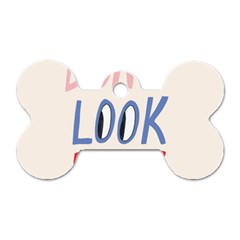 Don t Look Back Big Eye Pink Red Blue Sexy Dog Tag Bone (two Sides) by Mariart