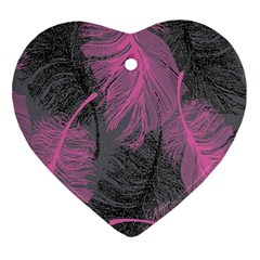 Feathers Quill Pink Grey Ornament (heart) by Mariart