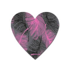 Feathers Quill Pink Grey Heart Magnet by Mariart