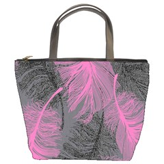 Feathers Quill Pink Grey Bucket Bags by Mariart