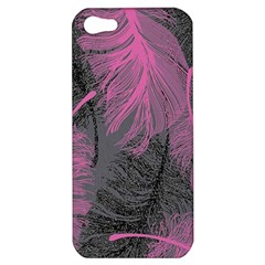 Feathers Quill Pink Grey Apple Iphone 5 Hardshell Case by Mariart