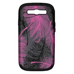 Feathers Quill Pink Grey Samsung Galaxy S Iii Hardshell Case (pc+silicone) by Mariart
