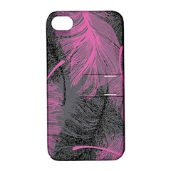 Feathers Quill Pink Grey Apple Iphone 4/4s Hardshell Case With Stand by Mariart