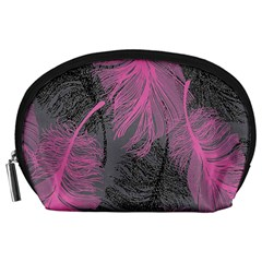 Feathers Quill Pink Grey Accessory Pouches (large)  by Mariart