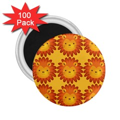 Cute Lion Face Orange Yellow Animals 2 25  Magnets (100 Pack)  by Mariart