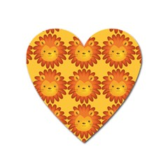 Cute Lion Face Orange Yellow Animals Heart Magnet by Mariart