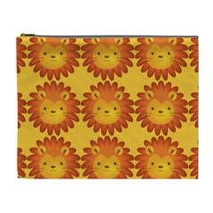 Cute Lion Face Orange Yellow Animals Cosmetic Bag (xl) by Mariart