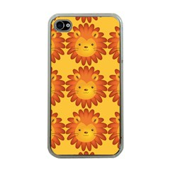 Cute Lion Face Orange Yellow Animals Apple Iphone 4 Case (clear) by Mariart