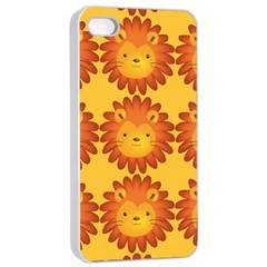 Cute Lion Face Orange Yellow Animals Apple Iphone 4/4s Seamless Case (white) by Mariart
