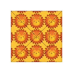 Cute Lion Face Orange Yellow Animals Acrylic Tangram Puzzle (4  X 4 ) by Mariart