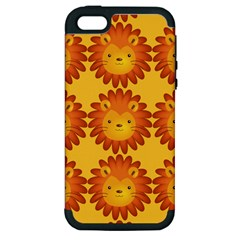 Cute Lion Face Orange Yellow Animals Apple Iphone 5 Hardshell Case (pc+silicone) by Mariart