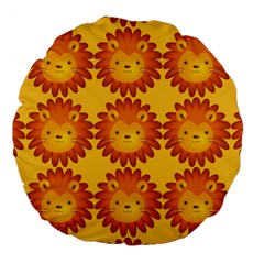Cute Lion Face Orange Yellow Animals Large 18  Premium Flano Round Cushions by Mariart