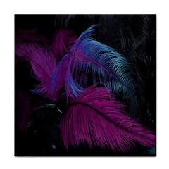Feathers Quill Pink Black Blue Tile Coasters