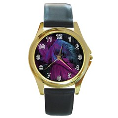 Feathers Quill Pink Black Blue Round Gold Metal Watch by Mariart