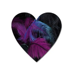 Feathers Quill Pink Black Blue Heart Magnet by Mariart