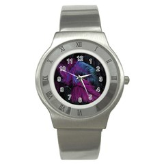 Feathers Quill Pink Black Blue Stainless Steel Watch by Mariart