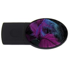Feathers Quill Pink Black Blue Usb Flash Drive Oval (4 Gb) by Mariart