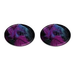Feathers Quill Pink Black Blue Cufflinks (oval) by Mariart