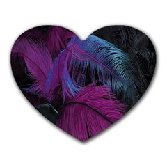 Feathers Quill Pink Black Blue Heart Mousepads by Mariart