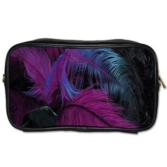 Feathers Quill Pink Black Blue Toiletries Bags 2 Side by Mariart