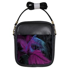 Feathers Quill Pink Black Blue Girls Sling Bags by Mariart