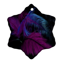 Feathers Quill Pink Black Blue Ornament (snowflake) by Mariart