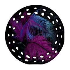Feathers Quill Pink Black Blue Round Filigree Ornament (two Sides) by Mariart