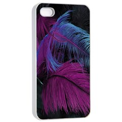 Feathers Quill Pink Black Blue Apple Iphone 4/4s Seamless Case (white) by Mariart