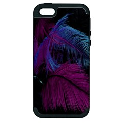 Feathers Quill Pink Black Blue Apple Iphone 5 Hardshell Case (pc+silicone) by Mariart