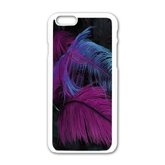Feathers Quill Pink Black Blue Apple Iphone 6/6s White Enamel Case by Mariart