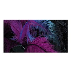 Feathers Quill Pink Black Blue Satin Shawl by Mariart
