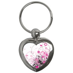 Wreaths Frame Flower Floral Pink Black Key Chains (heart)  by Mariart