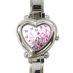 Wreaths Frame Flower Floral Pink Black Heart Italian Charm Watch by Mariart