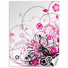 Wreaths Frame Flower Floral Pink Black Canvas 36  X 48   by Mariart