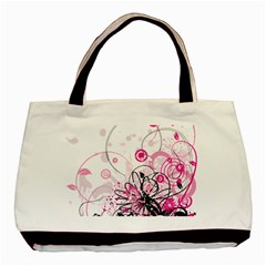 Wreaths Frame Flower Floral Pink Black Basic Tote Bag (two Sides) by Mariart