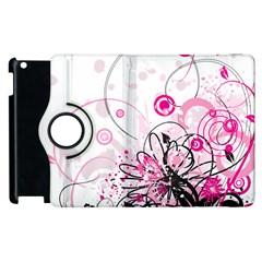 Wreaths Frame Flower Floral Pink Black Apple Ipad 3/4 Flip 360 Case by Mariart