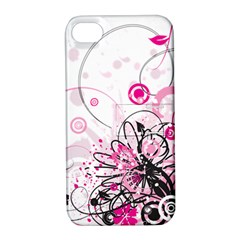 Wreaths Frame Flower Floral Pink Black Apple Iphone 4/4s Hardshell Case With Stand by Mariart