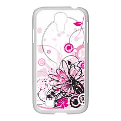 Wreaths Frame Flower Floral Pink Black Samsung Galaxy S4 I9500/ I9505 Case (white) by Mariart