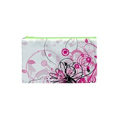 Wreaths Frame Flower Floral Pink Black Cosmetic Bag (xs) by Mariart