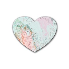 Geode Crystal Pink Blue Rubber Coaster (heart)  by Mariart