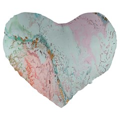 Geode Crystal Pink Blue Large 19  Premium Heart Shape Cushions by Mariart
