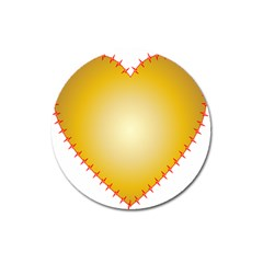 Heart Rhythm Gold Red Magnet 3  (round) by Mariart