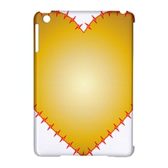 Heart Rhythm Gold Red Apple iPad Mini Hardshell Case (Compatible with Smart Cover) by Mariart