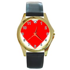 Heart Rhythm Inner Red Round Gold Metal Watch by Mariart