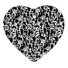 Deskjet Ink Splatter Black Spot Heart Ornament (two Sides) by Mariart