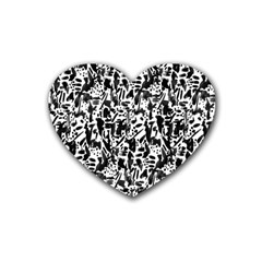Deskjet Ink Splatter Black Spot Heart Coaster (4 Pack)  by Mariart