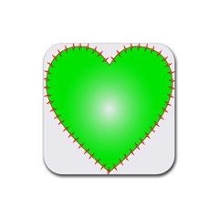 Heart Rhythm Inner Green Red Rubber Square Coaster (4 Pack)  by Mariart