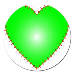 Heart Rhythm Inner Green Red Magnet 5  (round) by Mariart